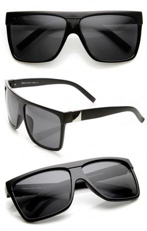 Large Retro Black Square Flat Top Aviator Sunglasses