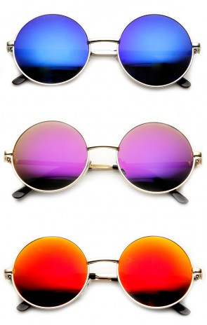 Mid Sized Metal Lennon Style Flash Mirror Round Sunglasses