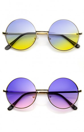 Mid Sized Metal Lennon Style Color Tinted Round Sunglasses