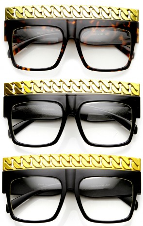 High Fashion Bold Chain Top Square Clear Lens Sunglasses