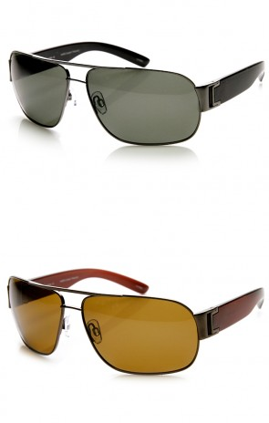 Polarized Premium Modern Metal Flat Top Aviator Sunglasses