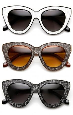 High Fashion Block Cut Texture Print Cat Eye Sunglasses