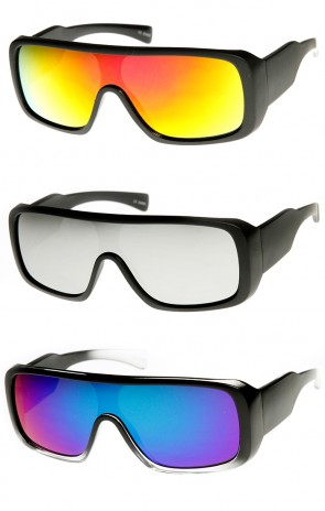 Rectangle Mono Flash Mirror Shield Lens Action Sports Sunglasses