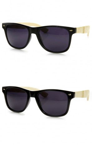 Eco-Friendly Genuine Bamboo Temple Horn Rimmed Sunglasses