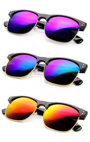 Classic Half Frame Flash Mirror Lens Horn Rimmed Sunglasses
