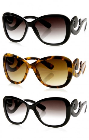 Womens Oversized Butterfly Bow-Tie Baroque Swirl Arm Sunglasses