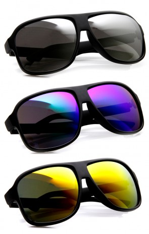 Action Sport Large Matte Black Square Mirror Lens Sunglasses