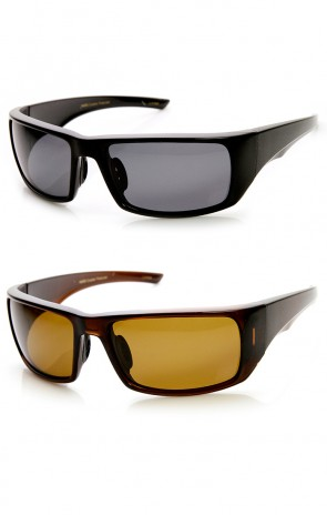 Mens Polarized Action Sports Rectangle Wraparound Sunglasses