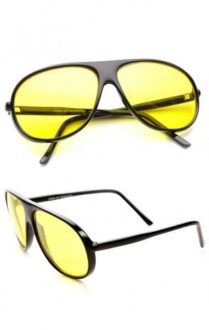 Yellow Tinted Driving Lens Retro Teardrop Plastic Aviator Sunglasses