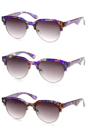 Flower Print Semi-Rimless Floral Half Frame Horn Rimmed Sunglasses