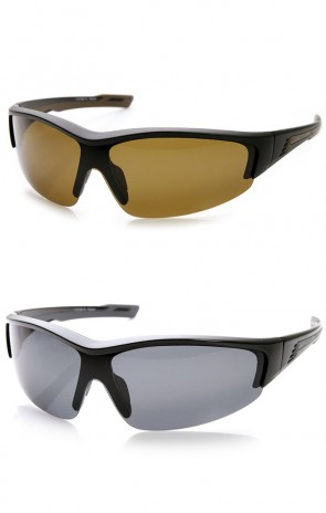 Polarized Shatterproof TR-90 Semi-Rimless Shield Sports Sunglasses