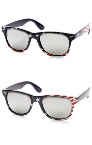 American Flag USA Stars and Stripes MIRRORED Horn Rimmed Sunglasses