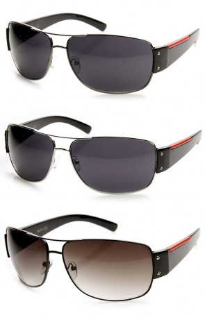 Modern Fashion Active Sport Red Stripe Metal Aviator Sunglasses