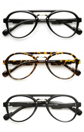 Retro Fashion Clear Lens Double Bridged Spectacle Round Glasses