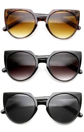 High Fashion Mod Keyhole Bridge Round Cat Eye Sunglasses