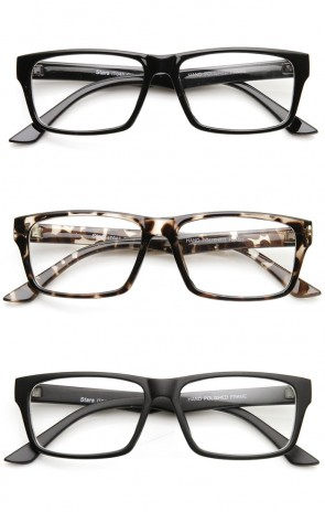 Modern Fashion Basic Mod Rectangular Clear Lens Glasses