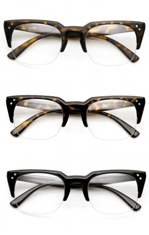 Dapper Fashion Semi-Rimless Clear Lens Square Keyhole Glasses