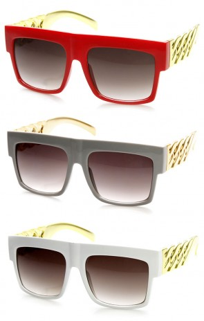 Colorful High Fashion Gold Chain Flat Top Square Aviator Sunglasses