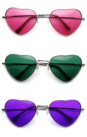 Womens Adorable Metal Heart Shape Color Tinted Sunglasses