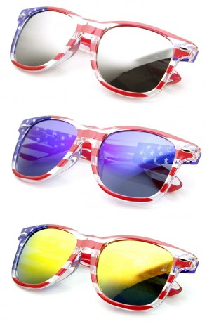 American Flag USA Stars and Stripes Clear Frame MIRRORED Sunglasses