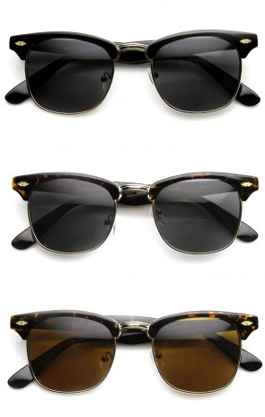 Classic Shaped Half Frame Semi-Rimless Horn Rimmed Sunglasses