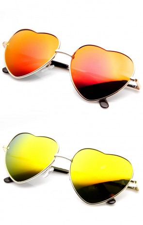 Womens Metal Thin Heart Shaped Color Mirrored Lens Sunglasses