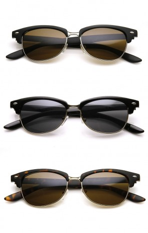 Classic Oval Shaped Semi-Rimless Half Frame Horn Rimmed Sunglasses
