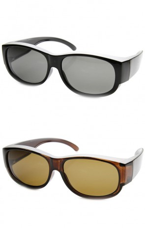 Large Polarized Wraparound Full Protection Square Fit Over Sunglasses
