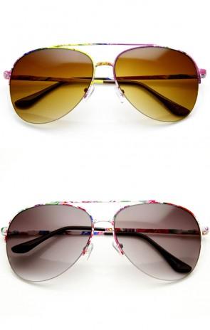 Large Colorful Floral Print Semi-Rimless Metal Aviator Sunglasses