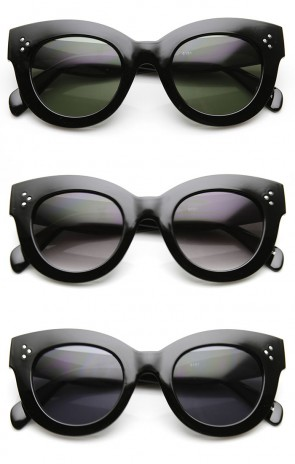 High Fashion Bold Thick Oversized Chunky Horn Rimmed Sunglasses