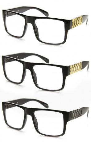 Super Retro Flat Top Clear Lens Chain Link Temple Square Sunglasses