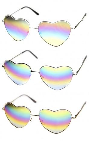 Womens Metal Frame Flash Mirror Rainbow Lens Heart Shape Sunglasses