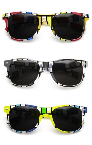 Artistic Abstract Print Colorful Square Pattern Horn Rimmed Sunglasses