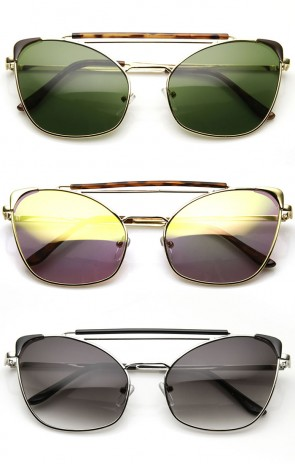High Fashion Metal Double Bridge Pointed Cat Eye Aviator Sunglasses