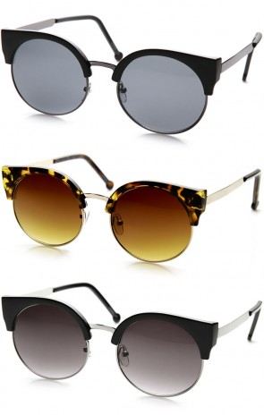 Classic Round Half Frame Metal Temple Circle Cat Eye Sunglasses