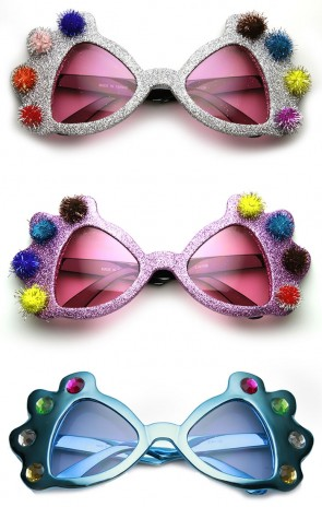 Princess Crown Glitter Pom Pom Jeweled Novelty Party Sunglasses