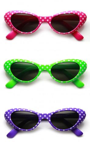 ca38645c3f1 Womens Fun Polka Dot Colorful Party Novelty Cat eye Sunglasses