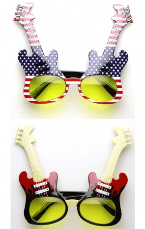 Electric Guitar Shape Rock Star Rock Party Musician Novelty Party Sunglasses