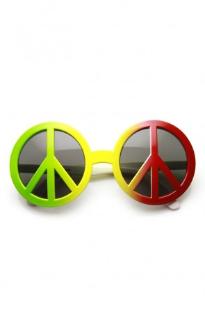 Peace Sign 70's Era Hippie Free Love Woodstock Novelty Costume Party Glasses