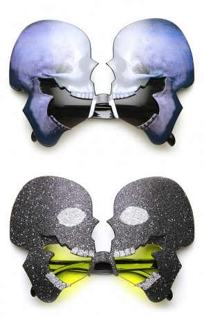 Skull Skeleton Head Glitter Halloween Costume Party Novelty Sunglasses