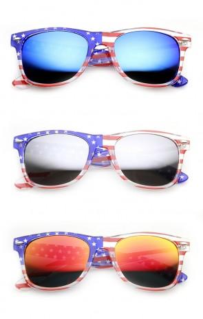 American Flag USA Patriotic Flash Mirror Lens Horn Rimmed Sunglasses