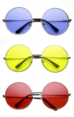 Womens Fashion Oversized Color Tint Lens Metal Circle Round Wholesale Sunglasses