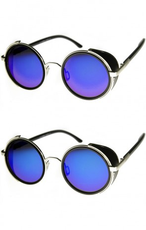 Studio Cover Color Mirror Lens Side Shield Metal Round Sunglasses