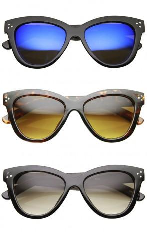 Womens Fashion Oversized Oval Bold Rim Butterfly Cat Eye Sunglasses