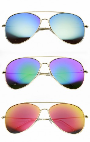 Large Oversized Metal Tear Drop Flash Mirror Lens Aviator Sunglasses 62mm