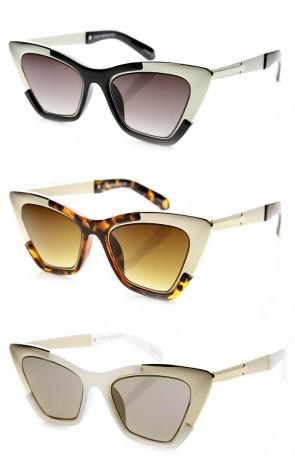 Womens High Fashion Metallic Futuristic Stunning Cat Eye Sunglasses
