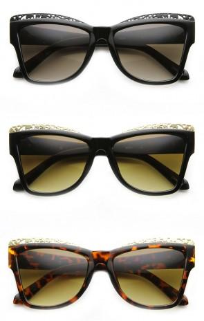 High Fashion Chic Metal Cut-Out Artwork Women's Cat Eye Sunglasses