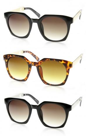 High Fashion Metal Temple Square Frame Womens Cat Eye Sunglasses