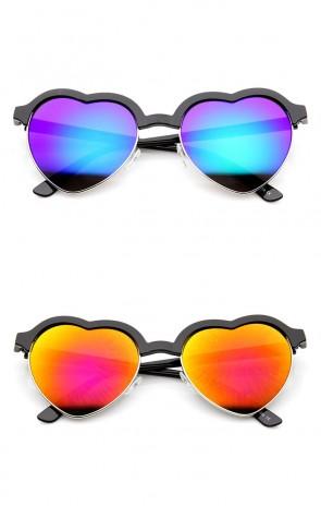 Womens Semi Rimless Flash Mirror Heart Shaped Sunglasses