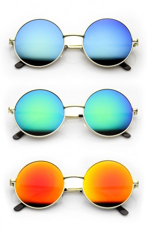 Round Large Lennon Style Flash Mirror Festival Sunglasses